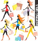 set of shopping girls silhouettes and paper bags in vector format very easy to edit, individual objects