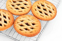 Christmas latticed mince pie group on a baking metal cooling rack over white background. Selective focus