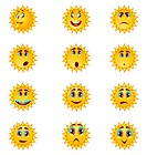 cartoon sun smiley illustration set