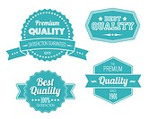 Old blue retro vintage labels _ premium quality