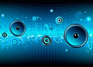 Vector illustration of blue abstract party design with urban music scene _ Speakers and sound waves