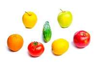Vegetables and fruits isolated on white. Closeup