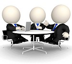 3D Business people at a corporate meeting _ isolated over a white background
