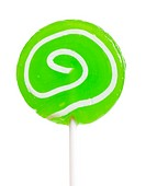 Macro view of green lollipop isolated over white background