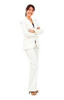 Fullbody business woman smiling isolated over a whte background