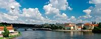 Prague panorama with balloon