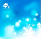 Vector snowy background. Winter Christmas blue blurred background with white snowflakes. Vector illustration