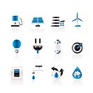 Ecology, power and energy icons _ vector icon set