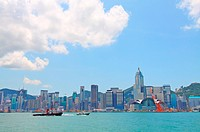 Hong Kong at day with moving clouds