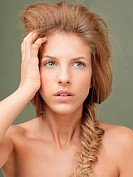 beauty portrait blonde woman braided hair