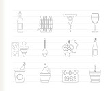Wine and drink Icons _ Vector Icon Set