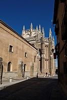 Calle de los Reyos Católicos with view of Monasterio de San Juan de los Reyes in Toledo, Castille La Mancha, Spain