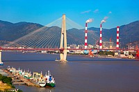Cable_stayed bridge and boatyard in the minjiang river ,Fujian,China