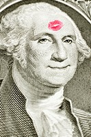 Lipstick kiss on George Washington's forehead, George Washington smiling, money