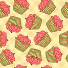Seamless pattern made of cupcakes. CMYK with global colors vector illustration.