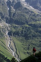 A hiker on a trail, Breithorn Mountain, Switzerland