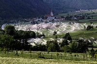 Sprinklers in Vinschgau valley, South Tirol, Italy
