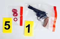 A BB Gun and BB cartridges in evidence bags