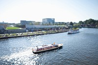 Tour boats on the Spree River, Germany, tilt_shift