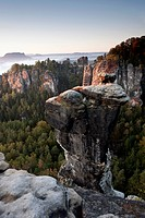 The Bastei in the morning, Elbe Sandstone Mountains, Saxon Switzerland, Germany
