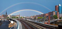 A double rainbow over the city of Hamburg, Germany