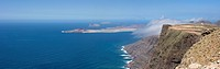 View of La Graciosa Island from cliffs of Lanzarote, Spain