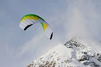 Paragliding over mountain