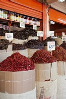 Sacks of various dried chili peppers for sale at an Merced Market, Mexico City