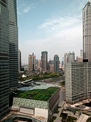 A roof garden in downtown Shanghai, China