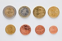 Greek euro coins arranged in numerical order, rear view (thumbnail)