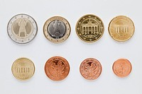 German euro coins arranged in numerical order, rear view (thumbnail)