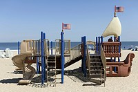 A playground made to look like a ship on Virginia Beach, Virginia, USA
