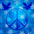 Christmas Peace Dove and Earth Globe with Snowflakes Illustration