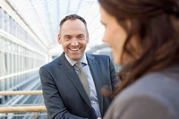Germany, Leipzig, Business people smiling