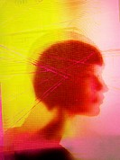 Lines over blurred head of woman