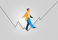Papercut of businessman tightrope walking a line graph