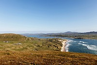 Ireland, County Donegal, View of Five Finger Strand and Inishowen Peninsula with Trawbreaga Bay