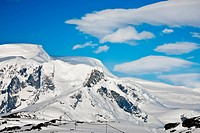Beautiful snow_capped mountains. Beautiful winter background.