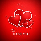 Red heart on a red background. And write a message that says I Love you.