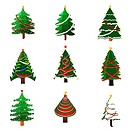 illustration of set of christmas tree in different style