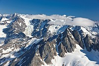 Aerial view of the Coastal Mountain Range north of Haines, Southeast Alaska, Summer