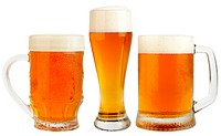 Set of Glasses Fresh Pils Beer with froth and condensed water pearls isolated on white background with clipping path. High Quality XXXL!