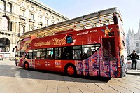 City sightseeing bus, city tours, Milan, Milano, Lombardy, Italy, Europe, PublicGround