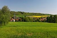 Village of Jozerand, agricultural landscape, Limagne plain, Puy de Dome, Auvergne, France, Europe