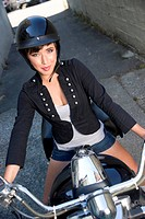 Cute teenage girl on Motorcycle