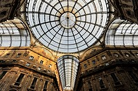 Galleria Vittorio Emanuele II, glass dome seen from the arcade, first indoor shopping mall in the world by the architect Giuseppe Mengoni, 1872, Milan...