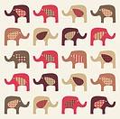 colorful cute elephants background, vector illustration