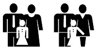 Father, mother and daughter _ vector illustration, black on white.