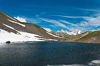 small lake in Pointe Rousse pass, Aosta valley, Italy with Mont Blanc massif on background
