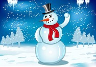 Smiling snowman with red scarf and snowball on blue background illustration. Fully editable. Only gradients. No flatten transparency.